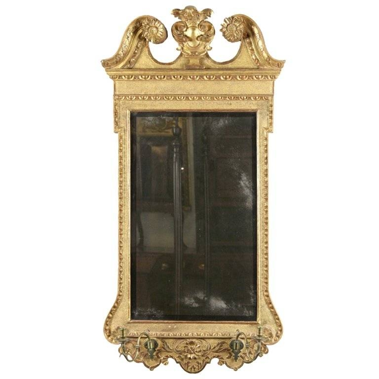 Queen Anne Gilt Mirror With Swan's Neck Pediment And Candleholders Throughout Gilt Mirrors (View 4 of 20)