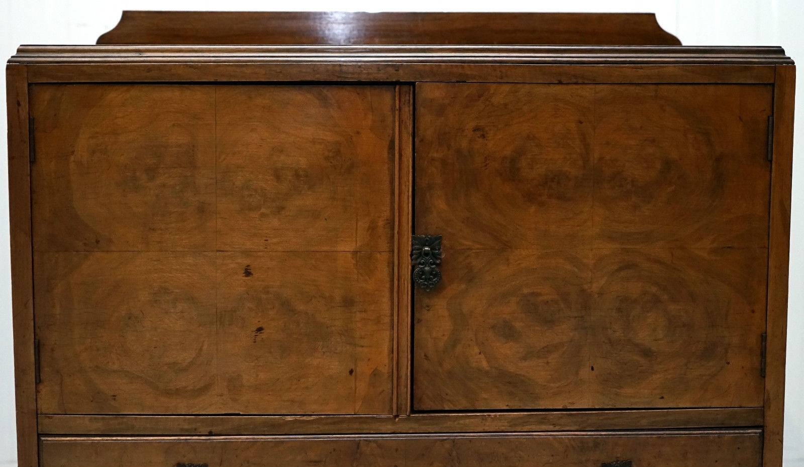 Queen Anne Walnut Small Sideboard Cabinet With Carved Cabriole Inside Small Sideboard Cabinet (#9 of 20)