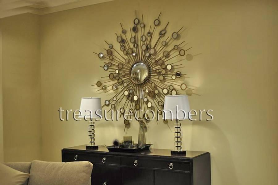 Raindrops Gold Wall Mirror – Sunburst / Starburst Design | Ebay With Regard To Large Sunburst Mirrors (#15 of 20)