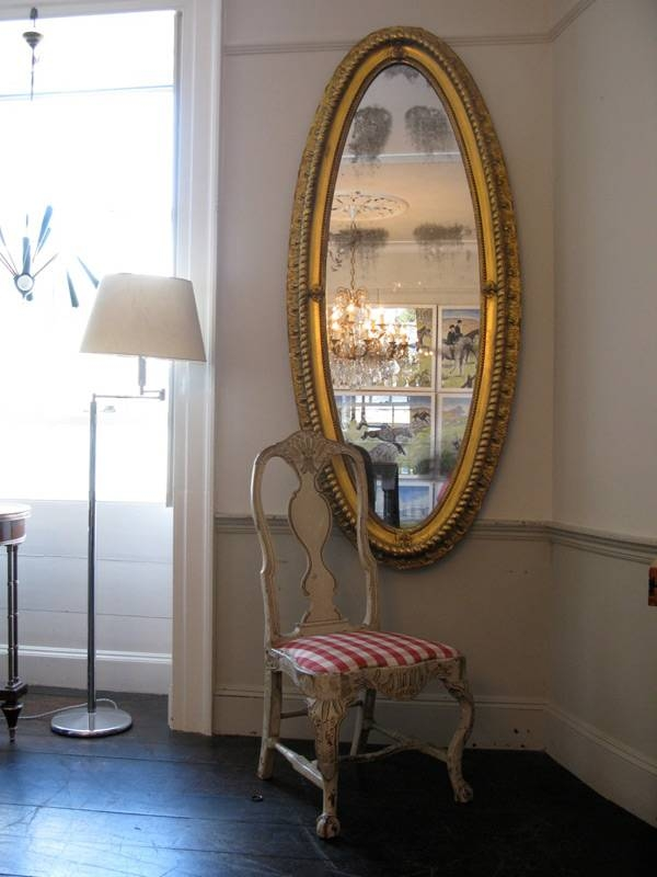 Rare Shape 19Th Century Gilded Oval Mirror Of Large Proportions Pertaining To Large Oval Mirrors (#20 of 20)