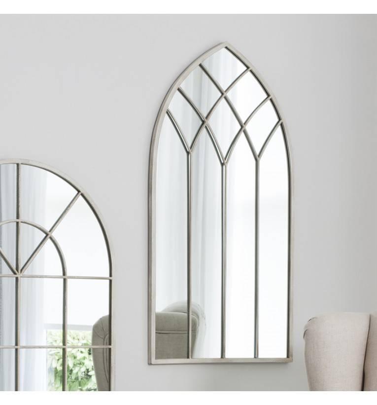 Rebecca Arched Cream Mirror 95 X 49 Cm Rebecca Arched Cream Mirror For Window Mirrors (#24 of 30)