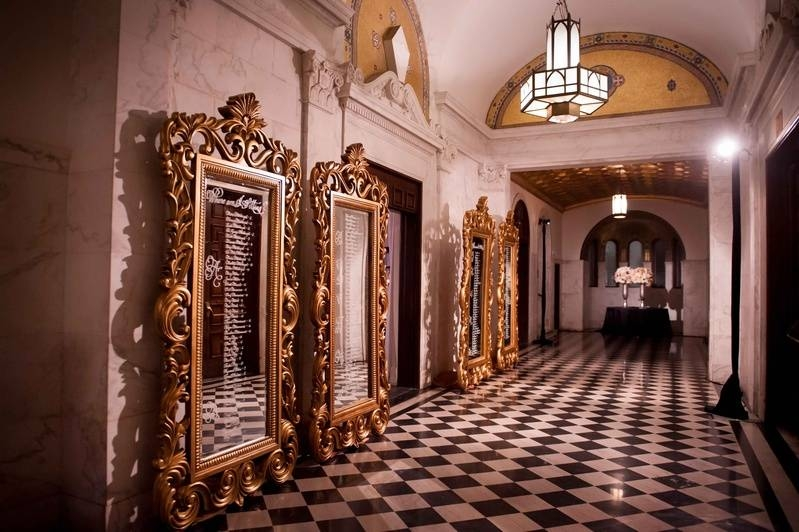 Reception Décor Photos – Tall Gold Mirror Seating Charts – Inside Within Tall Ornate Mirrors (#20 of 30)