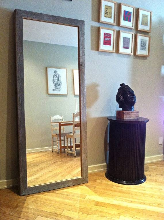 Reclaimed Barn Wood Mirror Standing Large Free Shipping Throughout Large Free Standing Mirrors (#20 of 20)