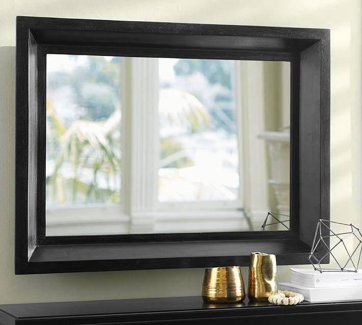 Rectangular Beveled Frame Mirror Within Black Bevelled Mirrors (#16 of 20)