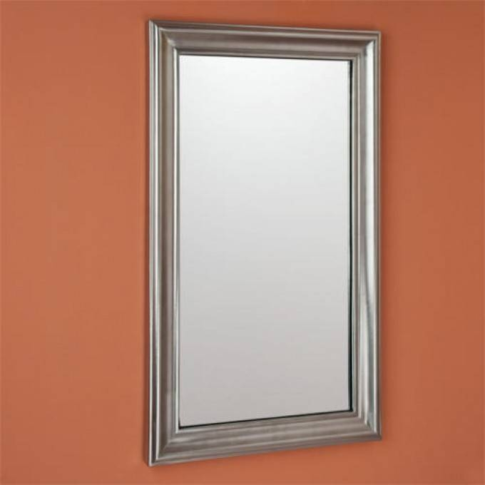 Rectangular Solid Brass Mirror – Satin Nickel – Bathroom Inside Brass Mirrors (#13 of 15)