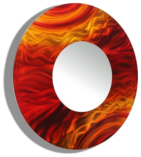 Red And Orange Contemporary Round Wall Mirror 116Jon Allen Regarding Red Mirrors (#15 of 20)