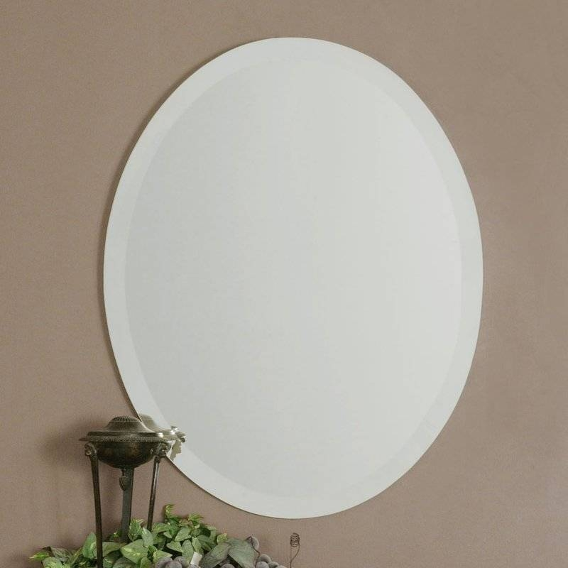 Red Barrel Studio Frameless Vanity Oval Wall Mirror & Reviews Inside Frameless Wall Mirrors (#23 of 30)