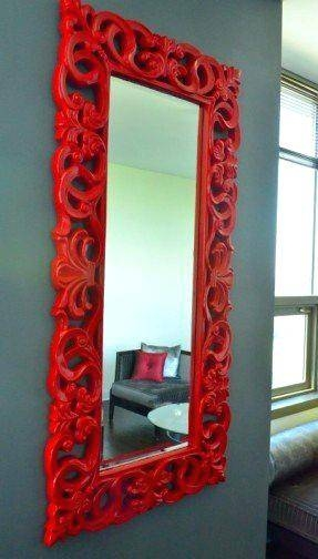 Red Bathroom Mirrordistressed Framed Mirror Uk – Shopwiz For Black Leather Framed Mirrors (#29 of 30)