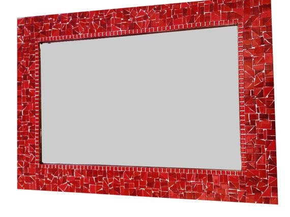 Red Wall Mirror Mosaic Mirror Colorful Decorative Mirror With Red Wall Mirrors (#26 of 30)