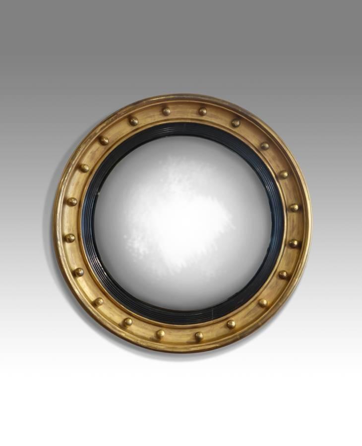 Regency Convex Mirror, Gilt Round Mirror, Pot Hole Mirror With Round Gilt Mirrors (View 9 of 15)