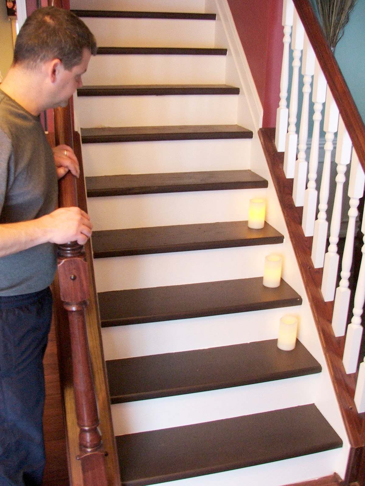 Remodelaholic Under 100 Carpeted Stair To Wooden Tread Makeover Diy For Diy Stair Tread Rugs (#17 of 20)