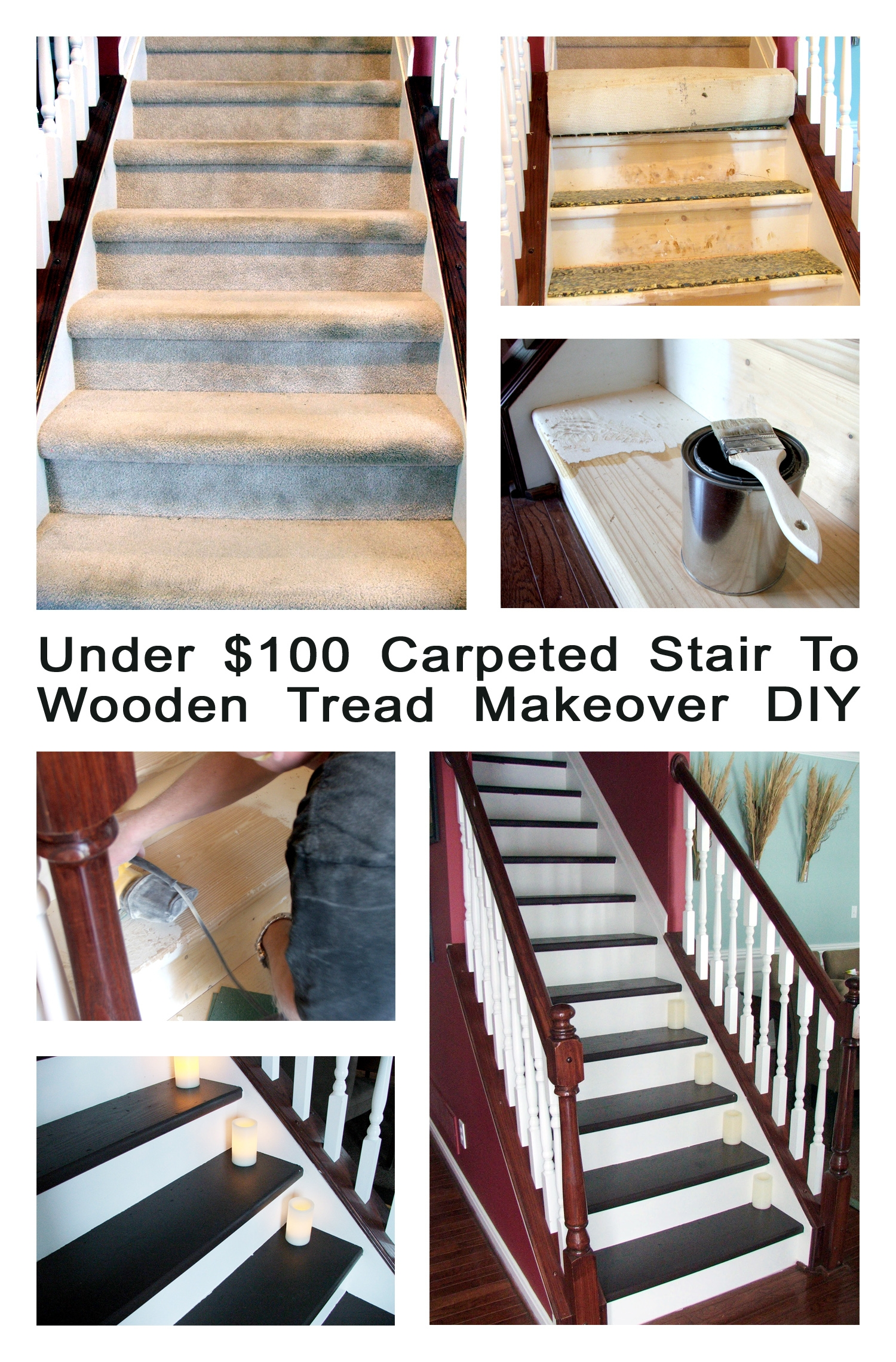 Remodelaholic Under 100 Carpeted Stair To Wooden Tread Makeover Diy Inside Diy Stair Tread Rugs (#18 of 20)