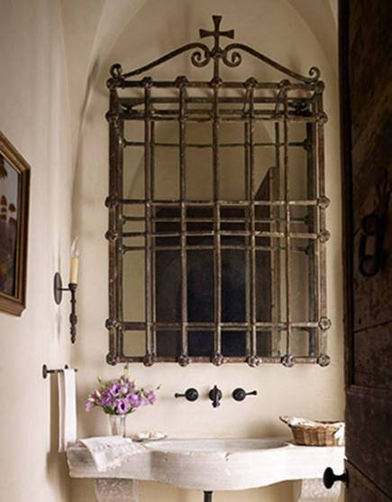 Repurposed Ornamental Iron Mirrors With Wrought Iron Bathroom Mirrors (#25 of 30)