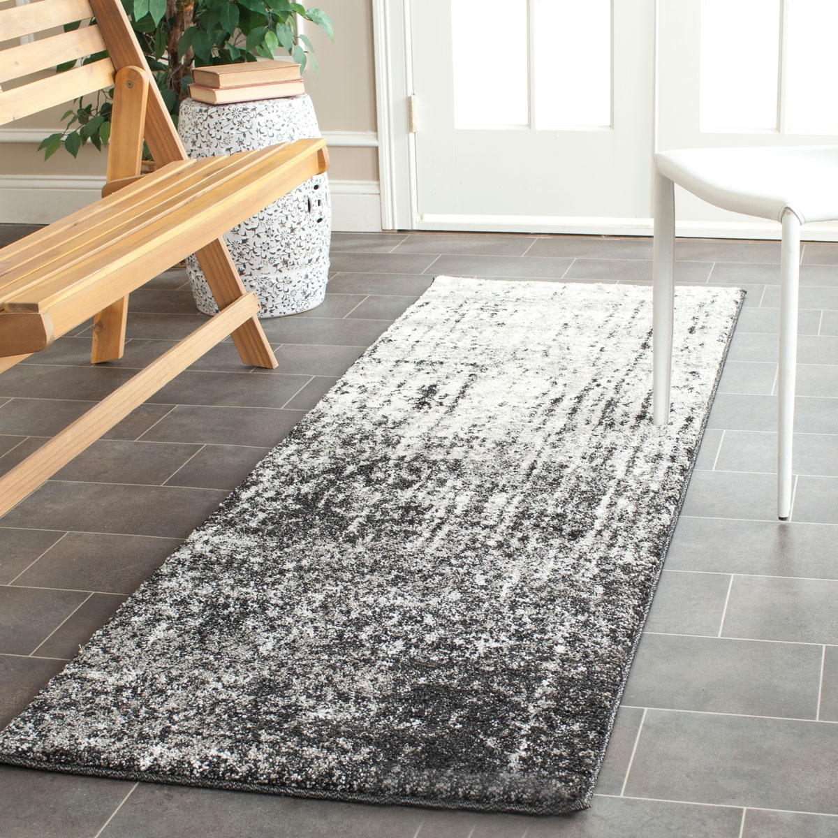 Retro Rugs Grey Black 60s Styled Area Rug Safavieh Inside Rug Runners Grey (View 14 of 20)
