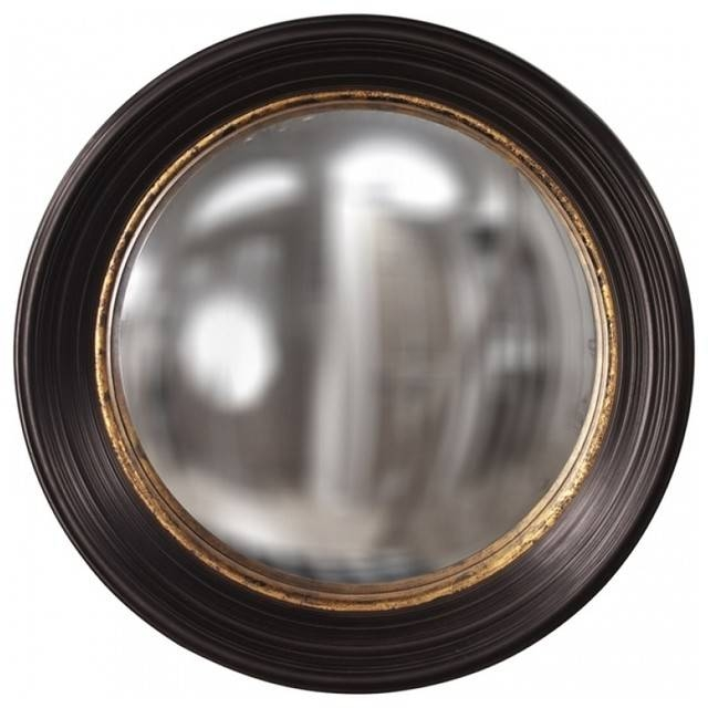 Rex Espresso Brown With Mottled Gold Leaf Inset Round Mirror Inside Black Convex Mirrors (#14 of 20)