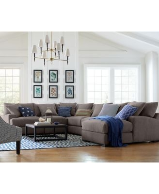Rhyder 3 Pc L Shaped Fabric Sectional Created For Macys For L Shaped Fabric Sofas (View 11 of 15)
