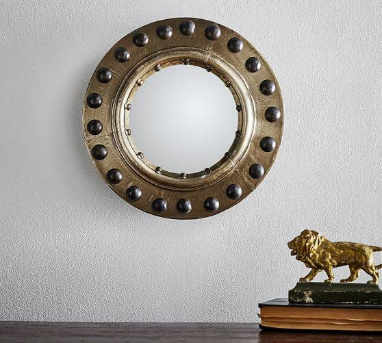 Riveted Porthole Convex Wall Mirror | Pottery Barn Regarding Convex Wall Mirrors (#27 of 30)