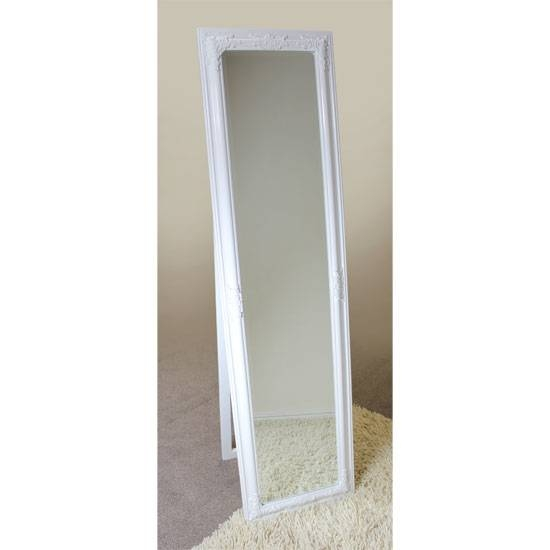 Rocco Cheval Floral White Frame Freestanding Mirror 15891 With Black Free Standing Mirrors (#26 of 30)