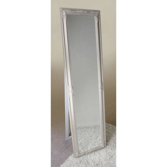 Rocco Cheval Silver Floral Frame Freestanding Mirror 15883 Intended For Silver Free Standing Mirrors (View 9 of 20)