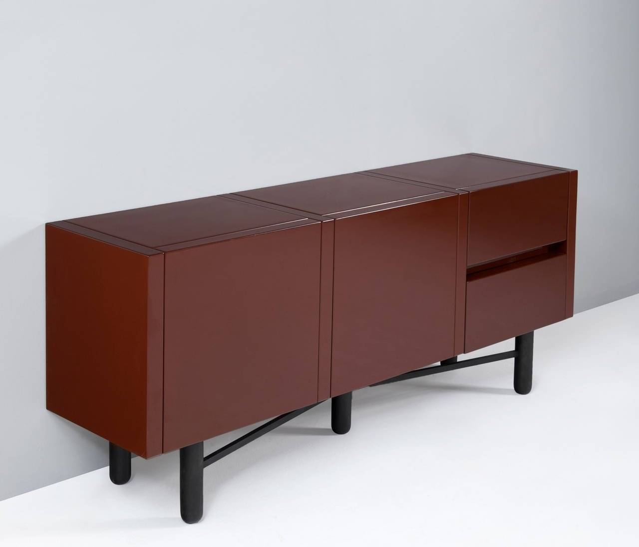 Roche Bobois Red Lacquered High Gloss Sideboard For Sale At 1Stdibs Inside Black High Gloss Sideboards (#17 of 20)