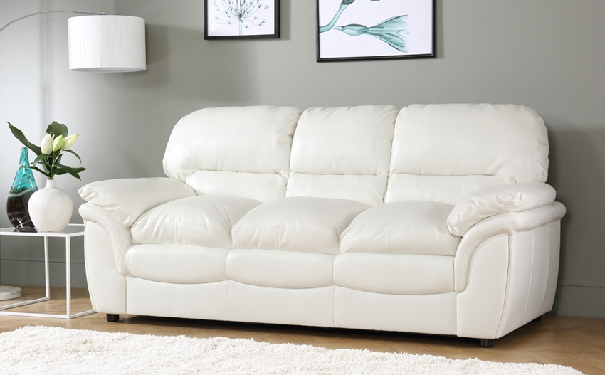 Rochester Ivory Leather 3 Seater Sofa Only 39999 Furniture Choice Within Ivory Leather Sofas (#11 of 15)