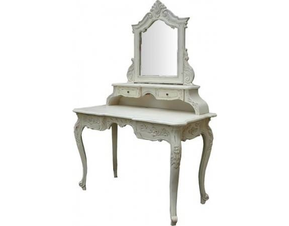 Rococo French White Dressing Table & Stool In Gold Dressing Table Mirrors (View 28 of 30)