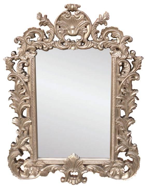 Rococo Silver Mirror 122 X 91Cm Inside Rococo Style Mirrors (#22 of 30)