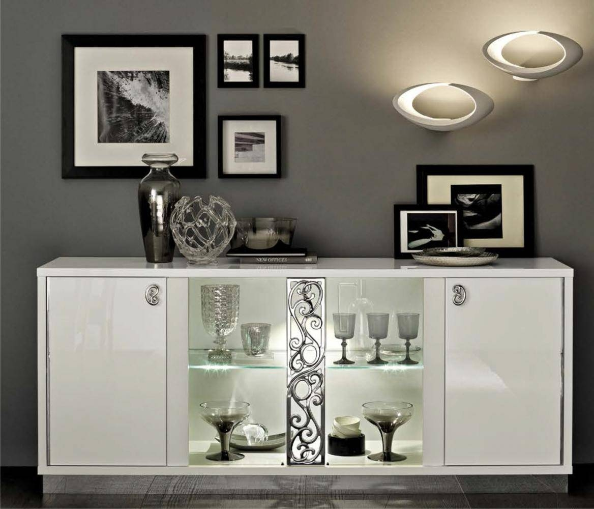 Roma 4 Door Sideboard, White Buy Online At Best Price – Sohomod Within White Glass Sideboard (View 12 of 20)