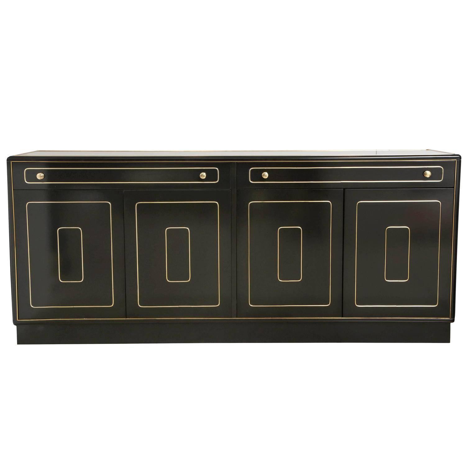 Romweber Brass Trimmed Black Lacquer Sideboard For Sale At 1Stdibs Inside Grey Gloss Sideboard (#16 of 20)