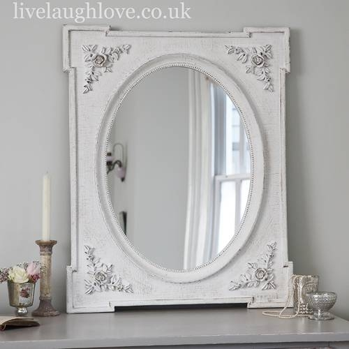 Rose Corner Shabby Chic Mirror – Antique White | Live Laugh Love Within Shabby Chic White Mirrors (#23 of 30)