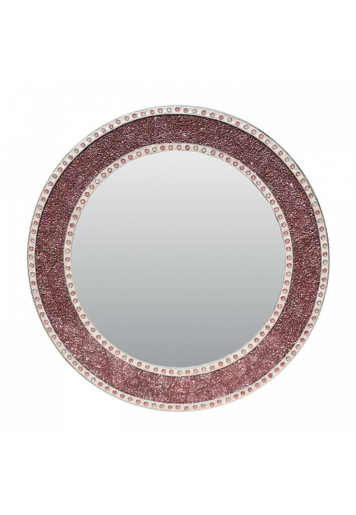 Rose Gold/blush Framed Round Crackled Glass Mosaic Decorative Throughout Mosaic Wall Mirrors (#17 of 20)