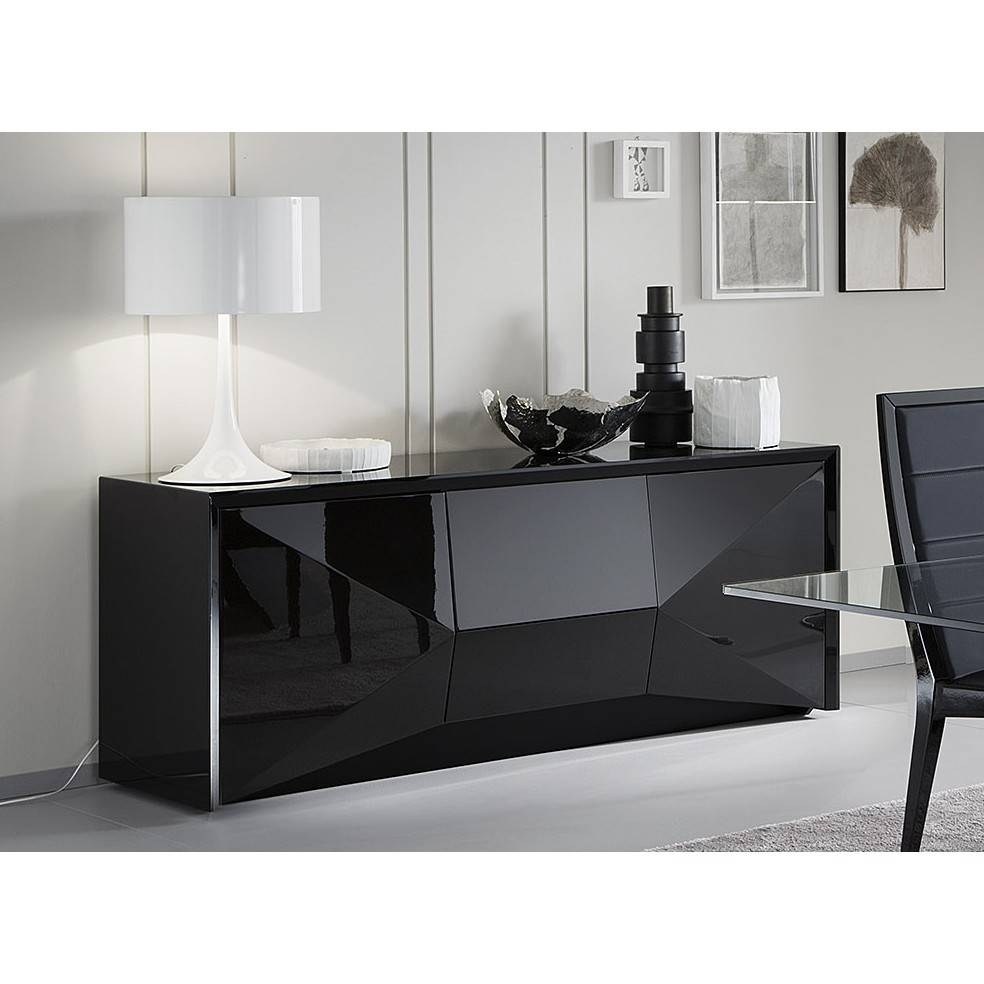"Rossetto 98""l Large Sapphire Buffet Sideboard In Black Finish For Intended For Black Gloss Buffet Sideboard (View 12 of 20)"