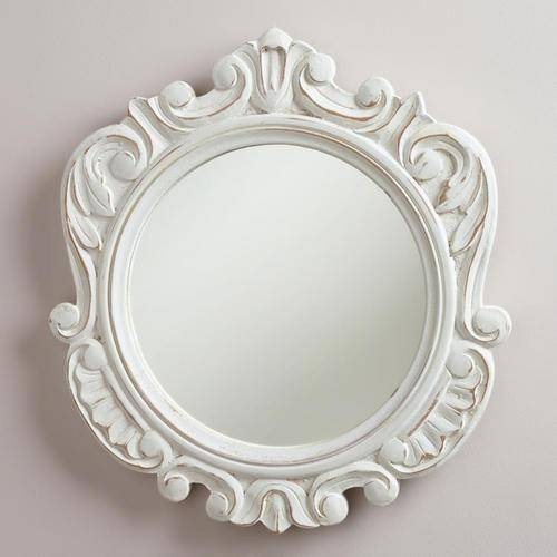 Round Adella Scalloped Mirror – World Market Pertaining To Round White Mirrors (#17 of 30)