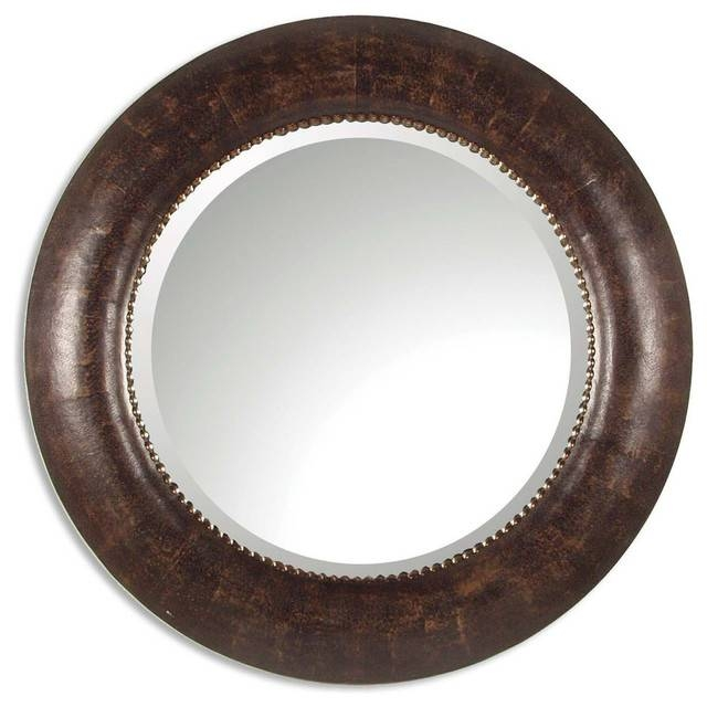 Round Brown Leather Wall Mirror, Classic Vanity Dark – Traditional Within Leather Round Mirrors (#15 of 20)