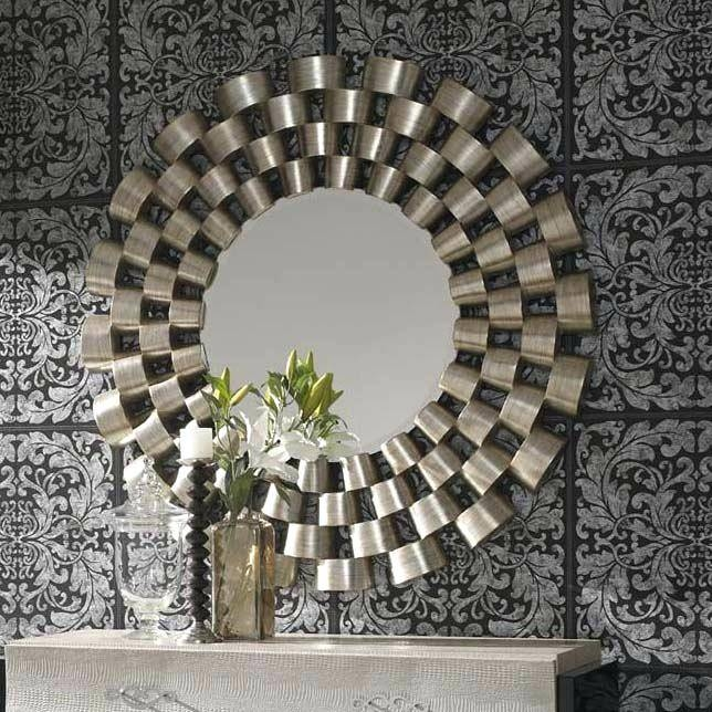 Round Chunky Silver Framed Mirrorround Wall Mirror Uk – Shopwiz Regarding Large Round Silver Mirrors (#21 of 30)