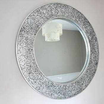 Round Crackle Mosaic Mirror ~ Black Console Tables Throughout Black Mosaic Mirrors (#26 of 30)