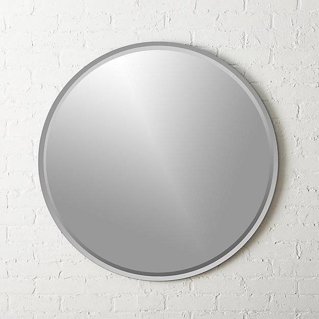 Round Double Bevel Wall Mirror 36"