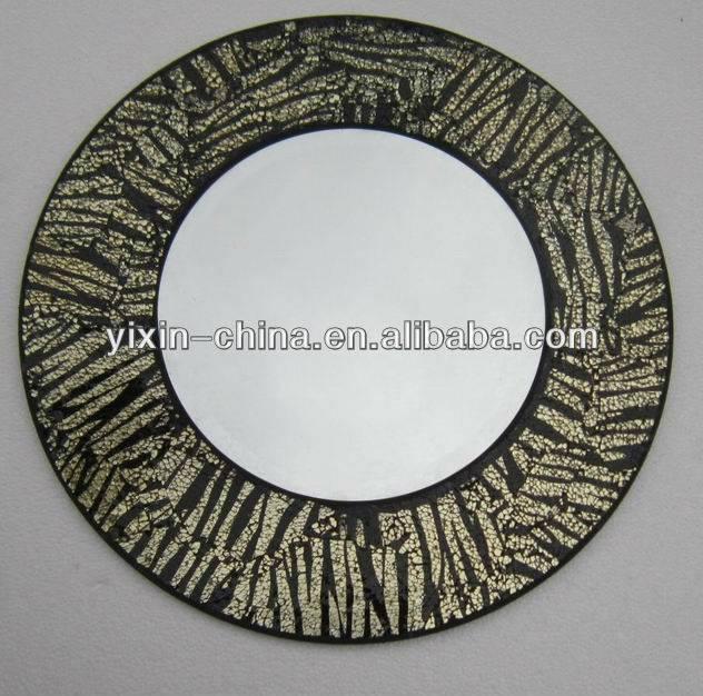 Round Frame Zebra Mosaic Mirror – Buy Mosaic Mirror,wall Mirror With Regard To Round Mosaic Mirrors (#26 of 30)
