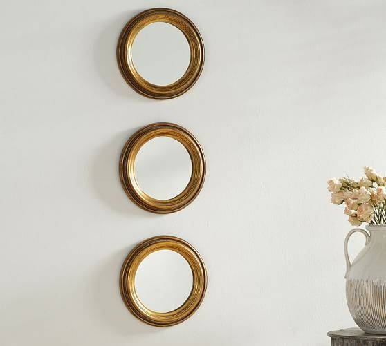 Round Gold Gilt Mirrors – Set Of 3 | Pottery Barn For Gold Gilt Mirrors (#19 of 20)