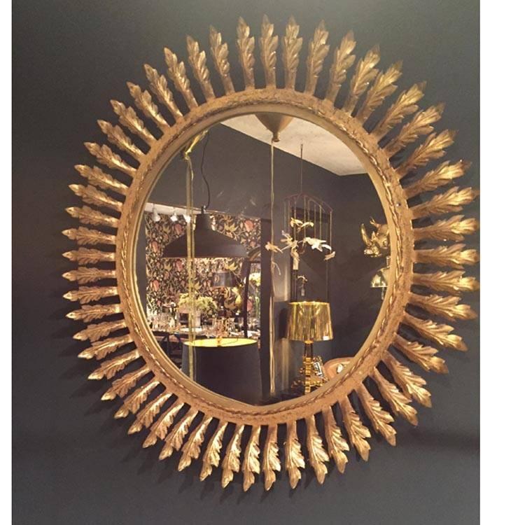 Round Gold Mirror With Leaf Effect 78Cm Round Gold Mirror With Throughout Gold Round Mirrors (View 10 of 20)