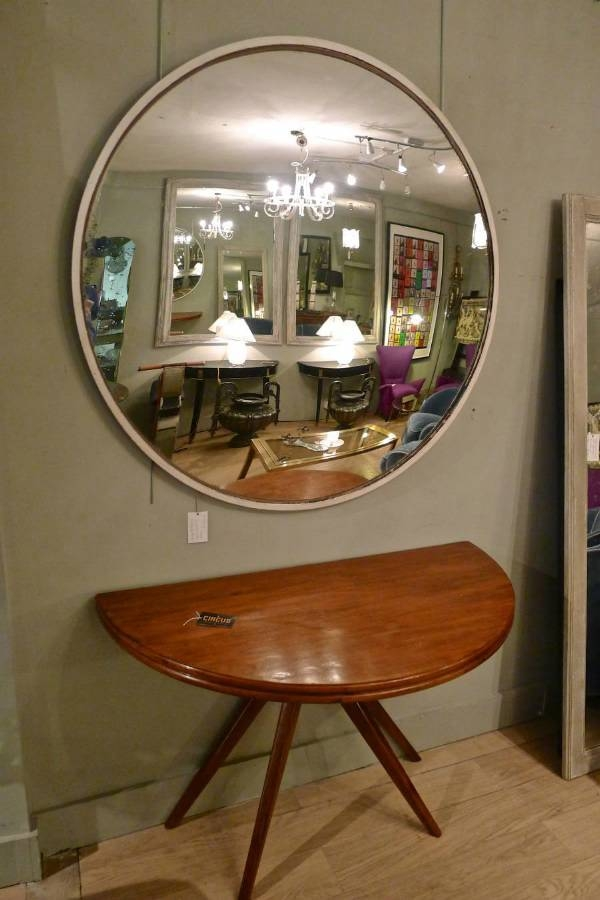 Round Industrial Convex Mirror Mid 20Th C In From Circus Antiques For Large Round Convex Mirrors (#25 of 30)