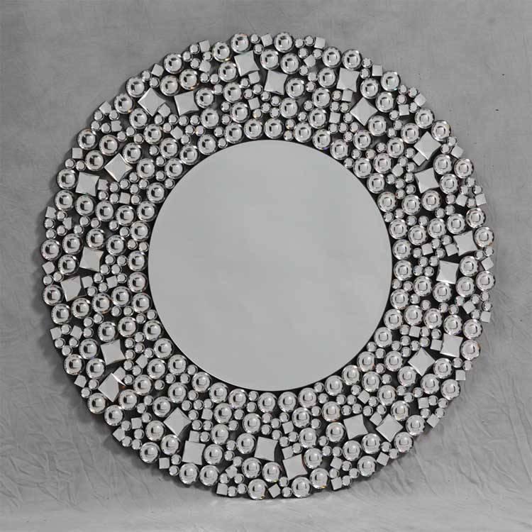 Round Jewel Mosaic Mirror 89 X 89Cm Round Jewel Mosaic Mirror Pertaining To Glitzy Mirrors (View 8 of 20)