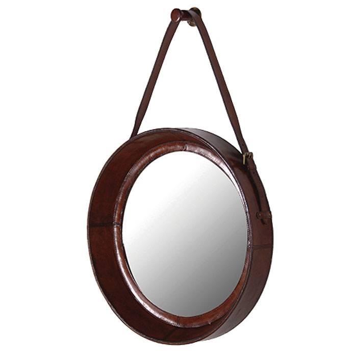 Round Leather Hanging Mirror 80 X 52 Cm Round Leather Hanging Pertaining To Leather Round Mirrors (#16 of 20)