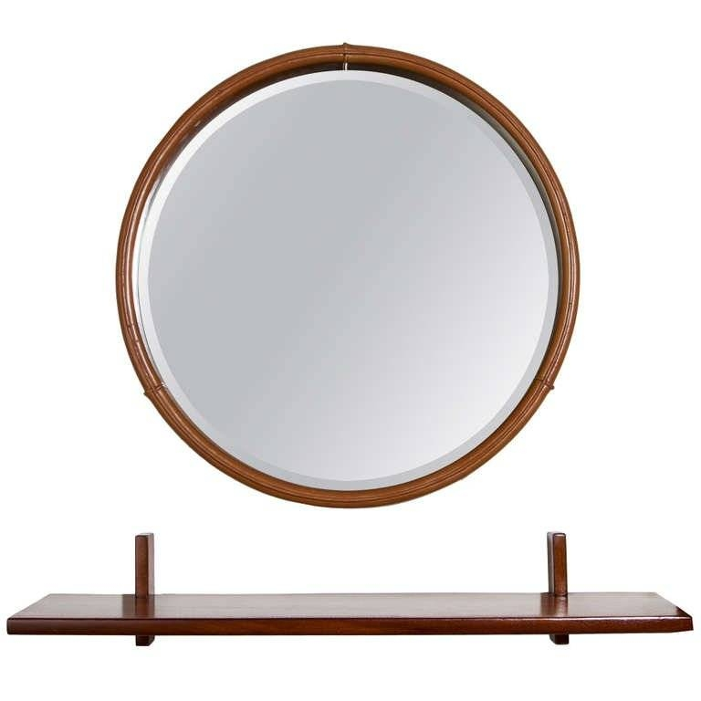 Round Leather Mirror Freijo Wood Shelf From Braziljorge For Round Leather Mirrors (#25 of 30)