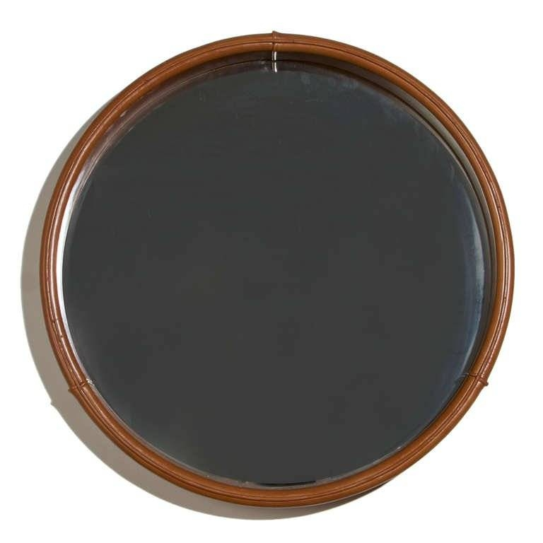 Round Leather Mirror Freijo Wood Shelf From Braziljorge Pertaining To Round Leather Mirrors (#26 of 30)