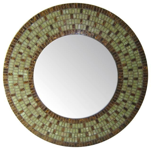 Round Mirror – Green & Brown Mosaic – Transitional – Wall Mirrors Inside Round Mosaic Wall Mirrors (#14 of 15)