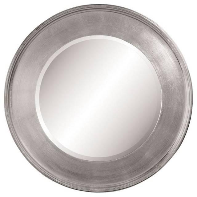 Round Mirror In Wide Silver Leaf Frame – Contemporary – Wall With Round Contemporary Mirrors (#14 of 15)