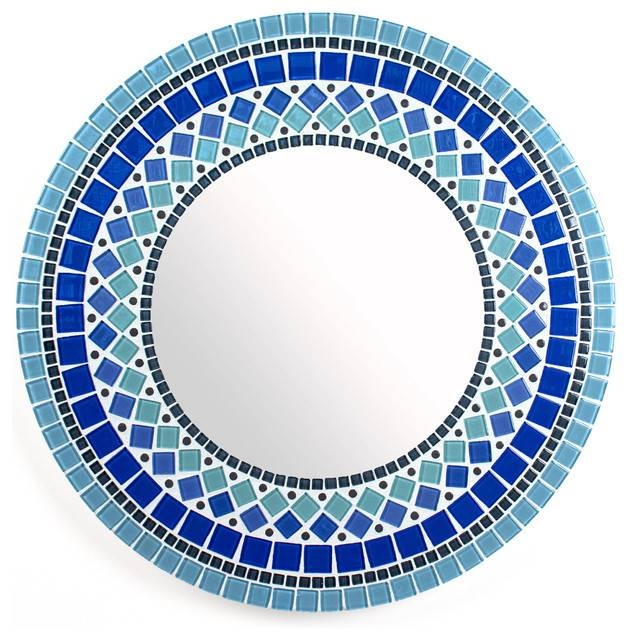 Round Mirror Wall Mirror In Blue Stained Glass Tile – Contemporary With Regard To Blue Round Mirrors (View 20 of 30)