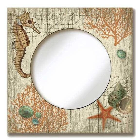 Round Mirror With Seahorse & Seashells Vintage Style Wooden Sign In Vintage Style Mirrors (#14 of 20)