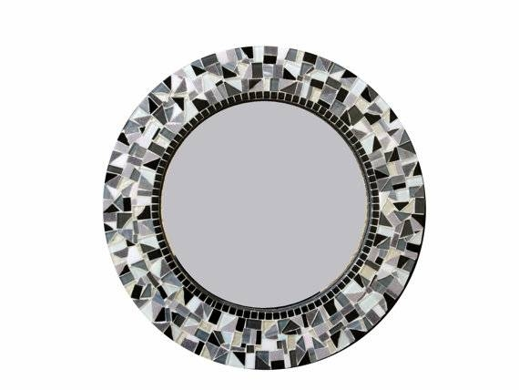 Round Mosaic Mirror Black White Gray Intended For Black Mosaic Mirrors (#28 of 30)